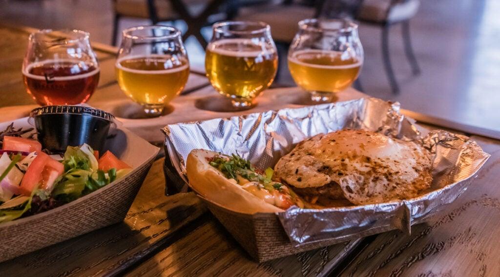 Beer flight and Korean Burger at Live Edge Brewing Company.