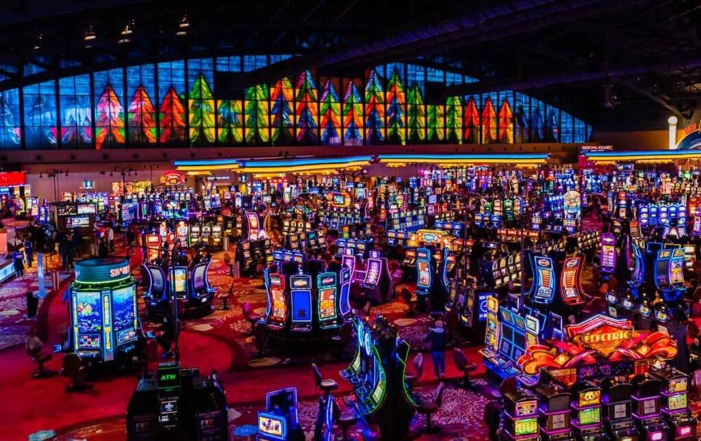 Neon slot machines at Seneca Niagara Resort Casino.