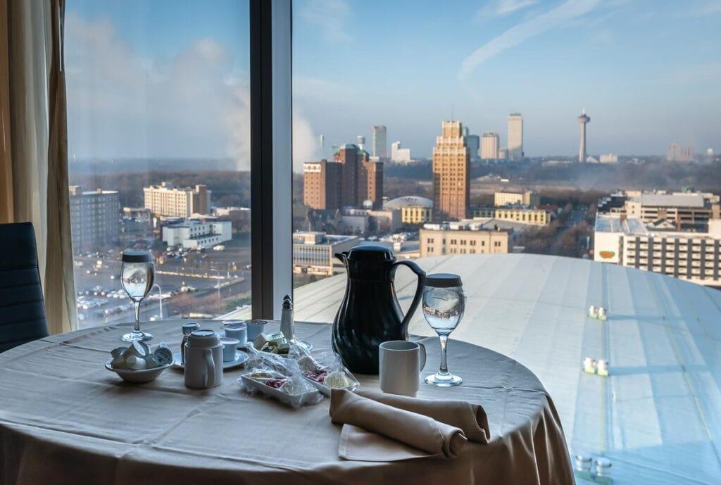Seneca Niagara Resort Room Service Breakfast with view of Niagara Falls NY