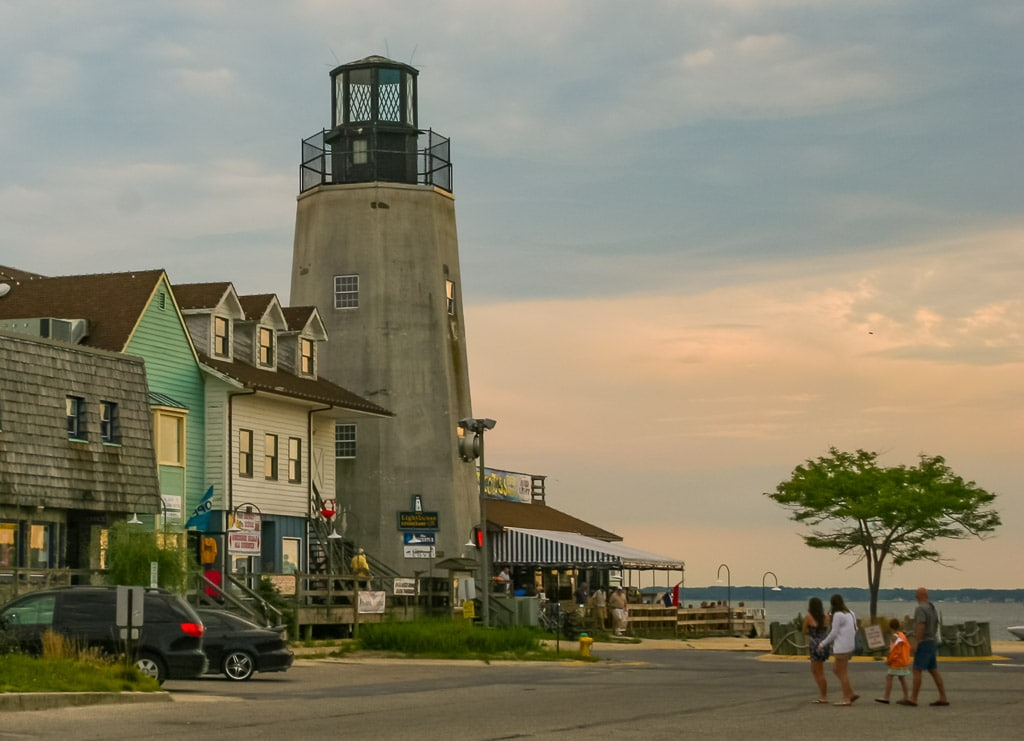 Lighthouse and waterfront in Dewey, Delaware.