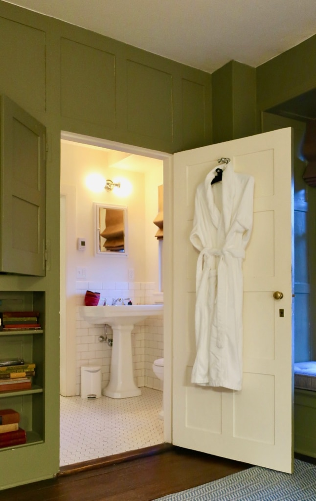 Troutbeck guest room robe and bathroom NY