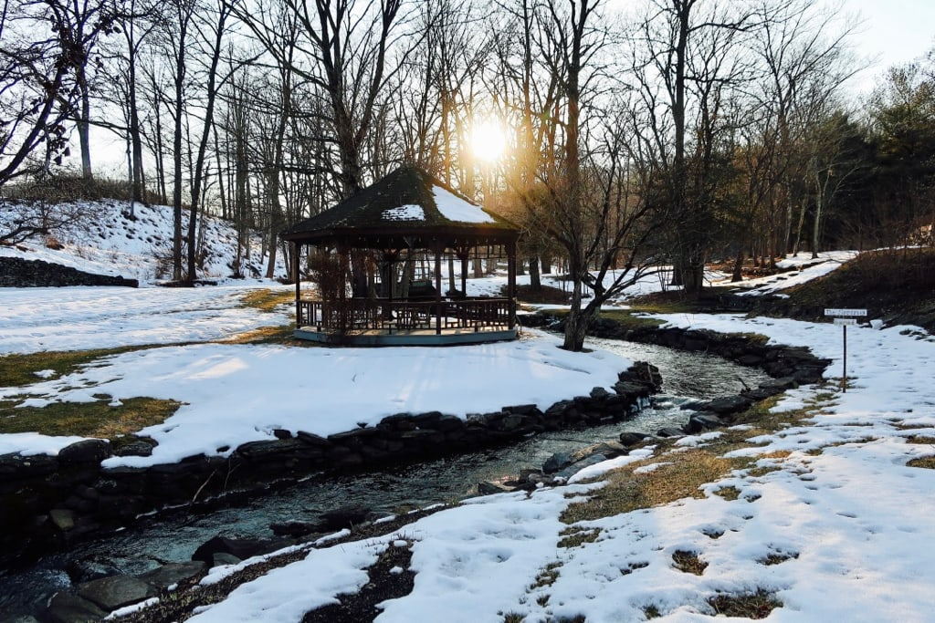 Troutbeck gazebo and brook in winter Amenia NY
