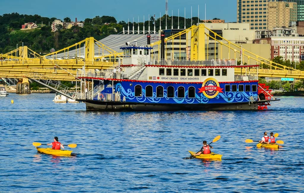 Kayakers on the river in Pittsburgh PA
