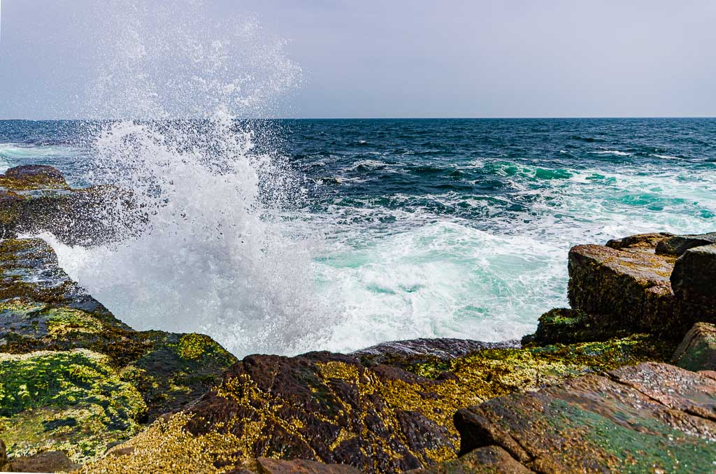 Waves crash on rocky overlook at Schoodic Peninsula in Acadia National Park.