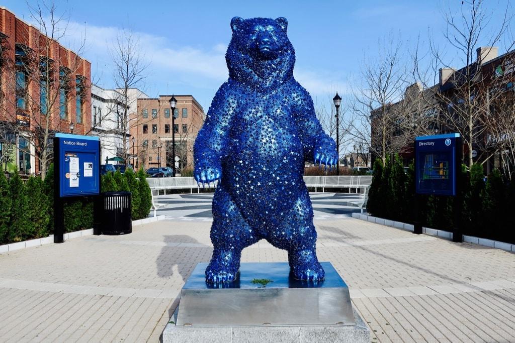 Sparkly Blue Bear sculpture Hyattsville MD