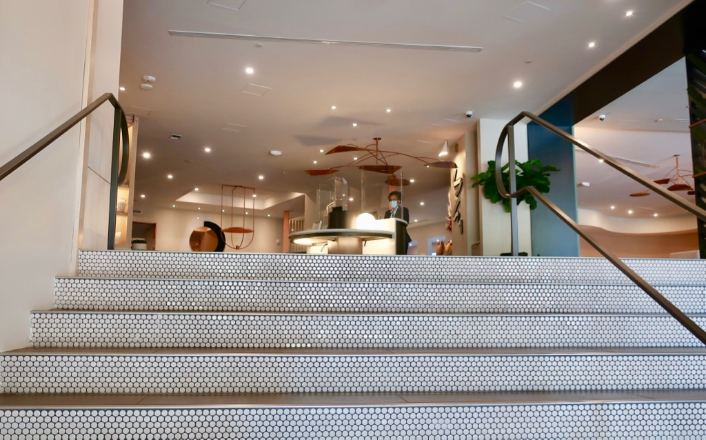Glittery stairsteps to The Ven at Embassy Row lobby Washington DC