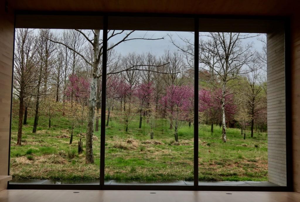 View from inside Glenstone Visitors Center Potomac MD