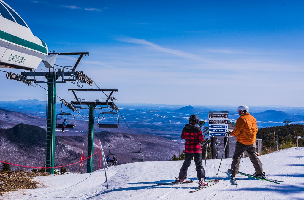 Two skiers face Alligator Alley at Jay Peak Ski Resort.