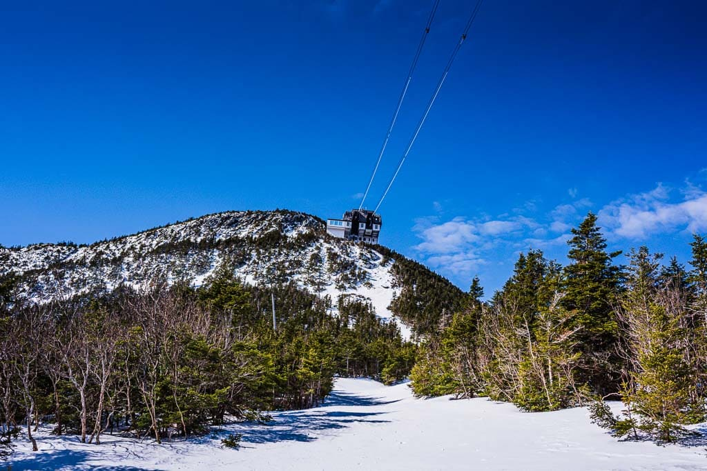 View of Sky Haus and tram wires at Jay Peak.