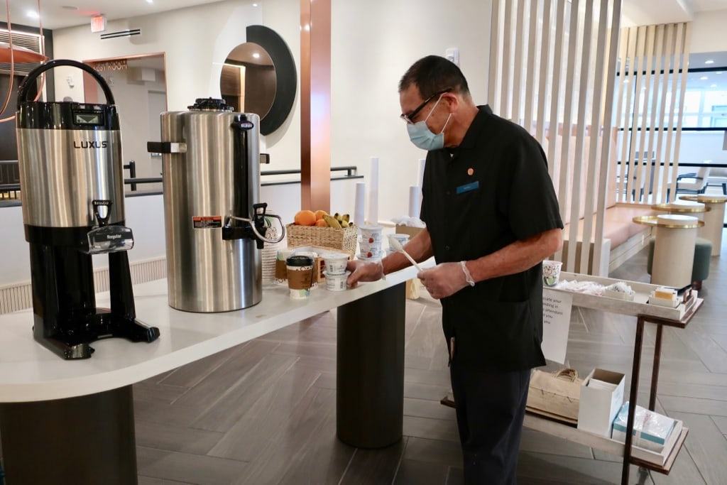 The Ven Morning coffee served by staff