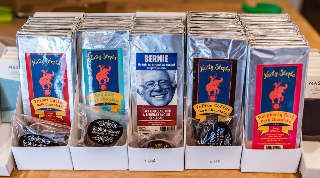 "Nutty Stephs chocolate display includes the ""Bernie,"" a ""Dark Chocolate with a Liberal amount of sea salt."""