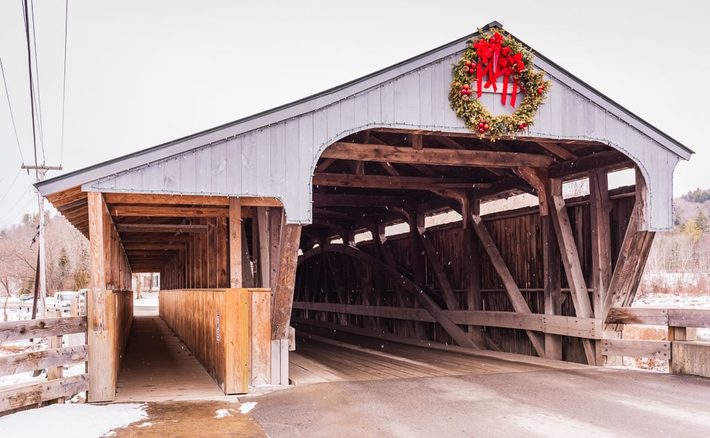 Great Eddy Covered Bridge in Historic Waitsfield at Mad River Valley Vermont.