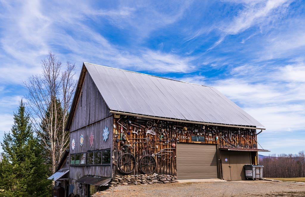 Quirky Vermont barn built in 1861 and adorned with historic memorabilia.