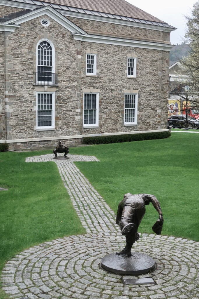 Throwing and Catching outdoor sculpture at the Baseball Hall of Fame, Cooperstown