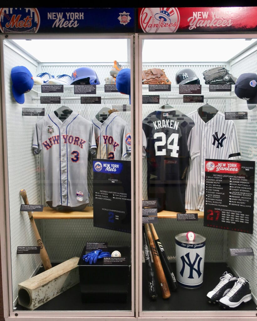 Mets and Yankees Lockers with the Kraken Baseball Hall of Fame