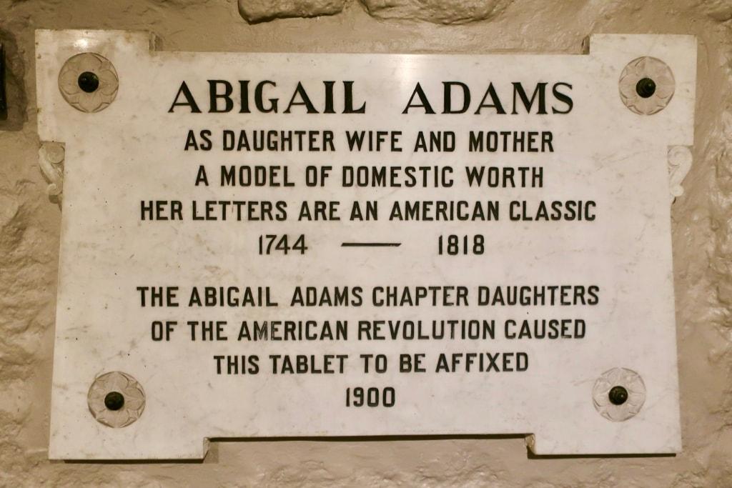 Abigail Adams plaque at First Parish Church Quincy MA