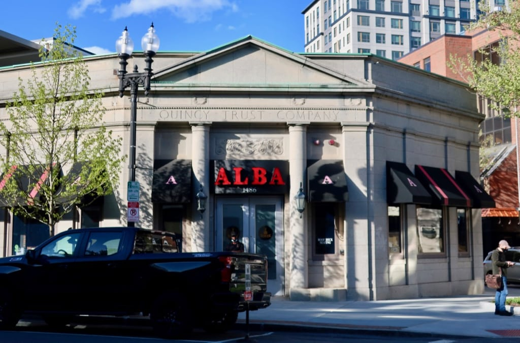 Exterior shot of Alba's formerly Quincy MA Bank