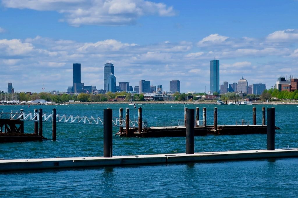 View of downtown Boston from Marina Bay Quincy MA