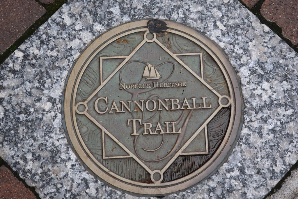 Cannonball Trail plaque in sidewalk Norfolk VA