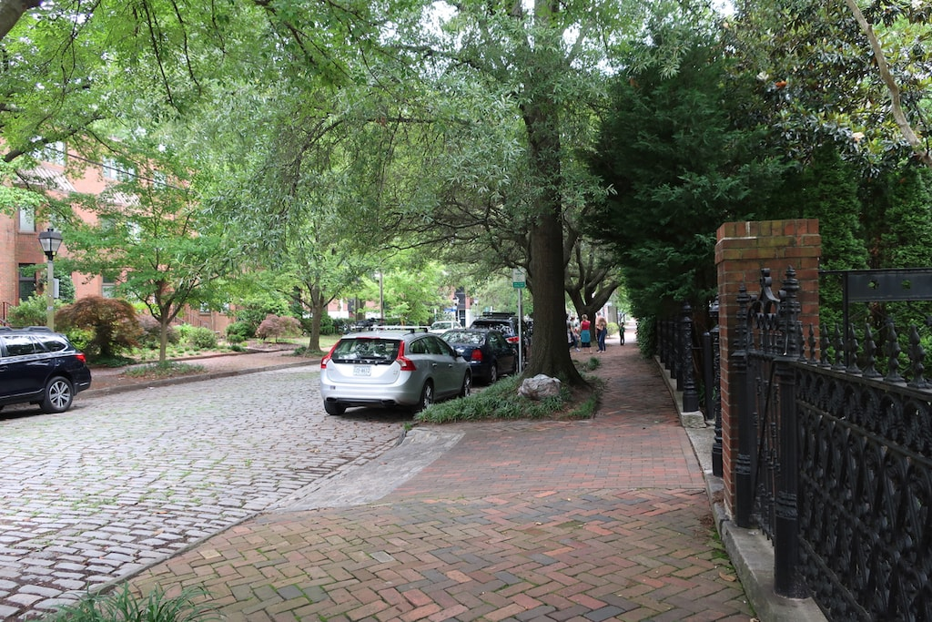 Shade Trees and Cobblestone streets Norfolk Freemason District