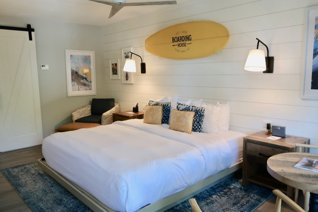 Modern-beachy room at The Boarding House Cape May NJ
