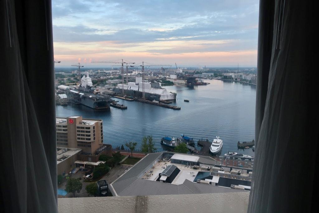 Norfolk Harbor views from Marriott Waterfront 24th floor
