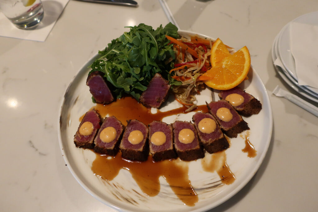 Seared tuna lunch at Hull and Mason Marriott Quincy Hotel MA
