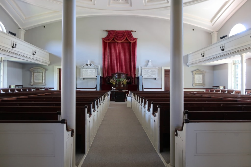 Interior of First Parish Church of the Presidents Quincy MA