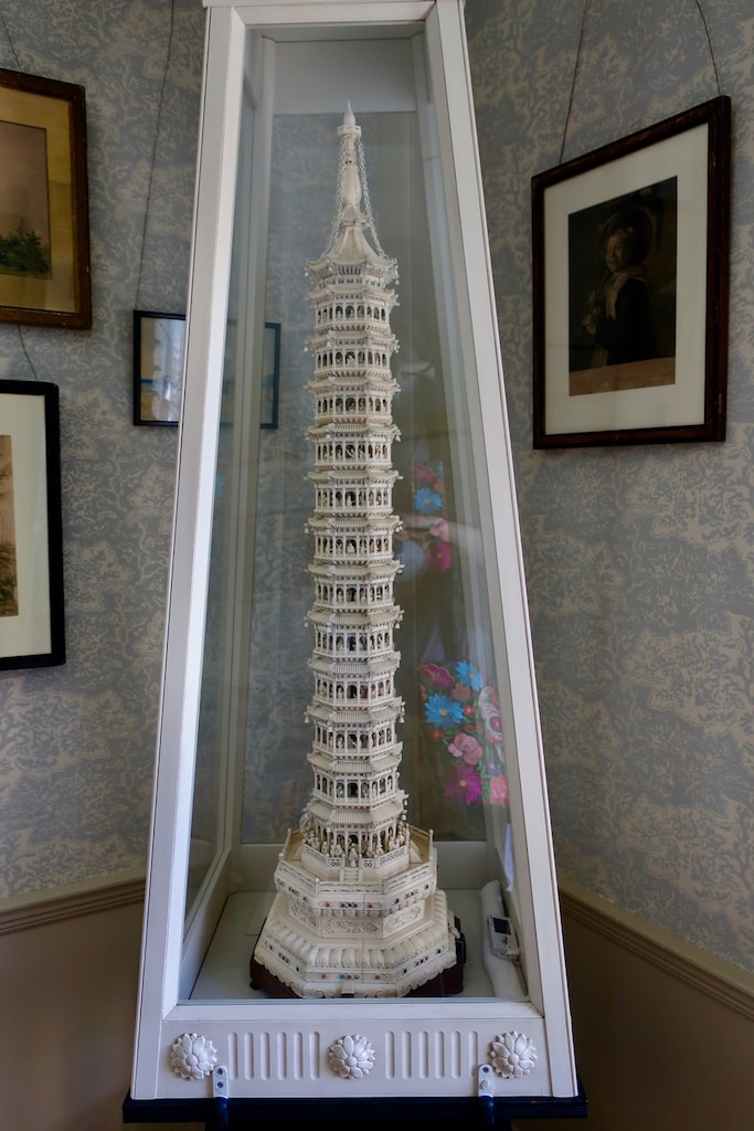 Elaborate ivory tower from China at Quincy House Quincy MA
