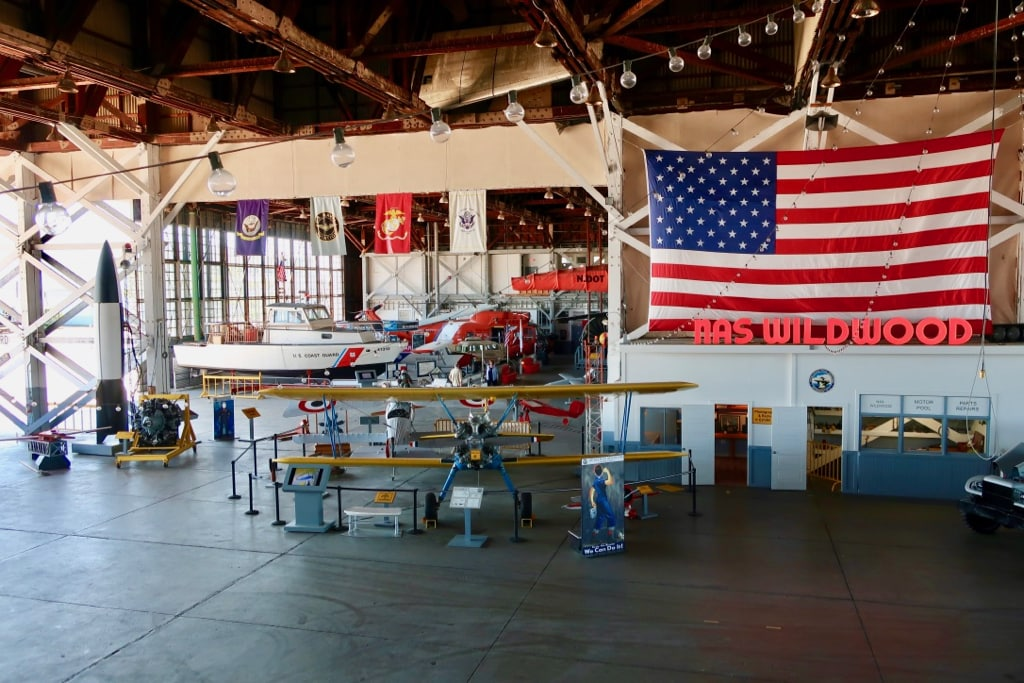 Inside the airplane hanger at NAS WIldwood Aviation Museum Cape May