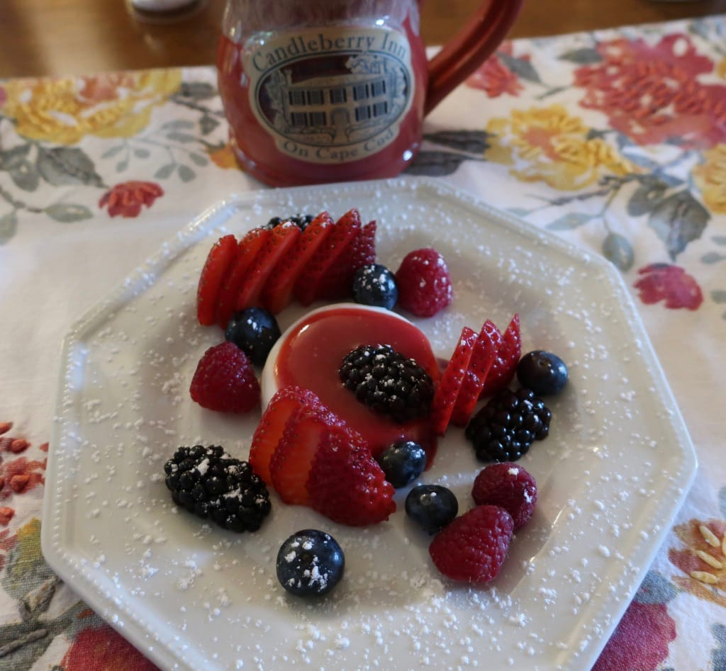 Panna Cotta Raspberry Coulis Breakfast Candleberry Inn MA