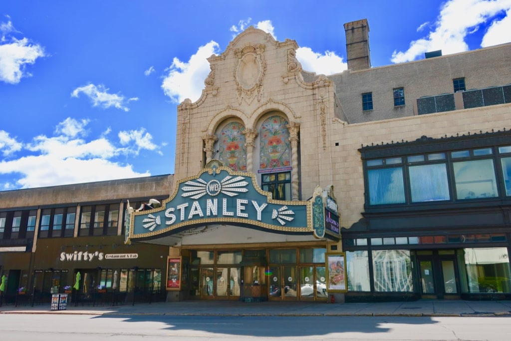Restored Stanley Theater with colorful facade Utica NY