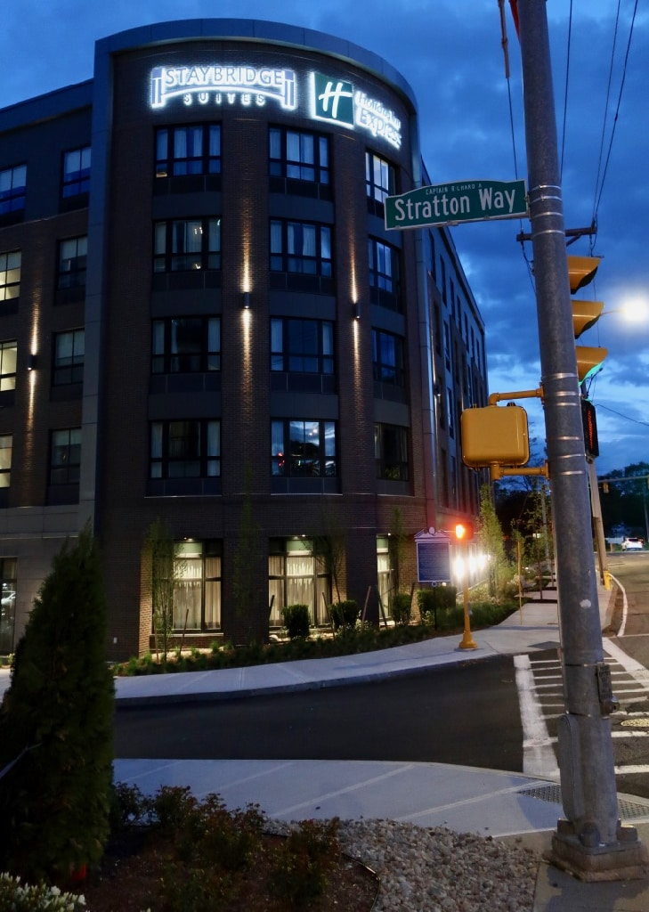Night exterior view Staybridge Suites Holiday Inn Express Quincy MA