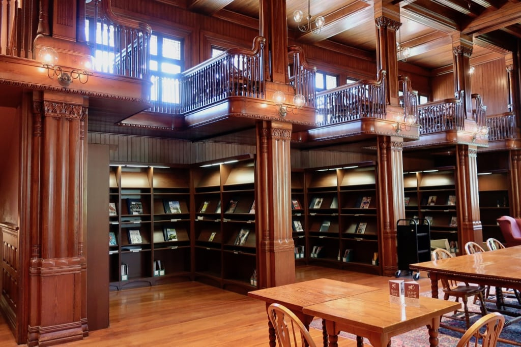 Study nooks atop periodical section Thomas Crane Library Quincy MA