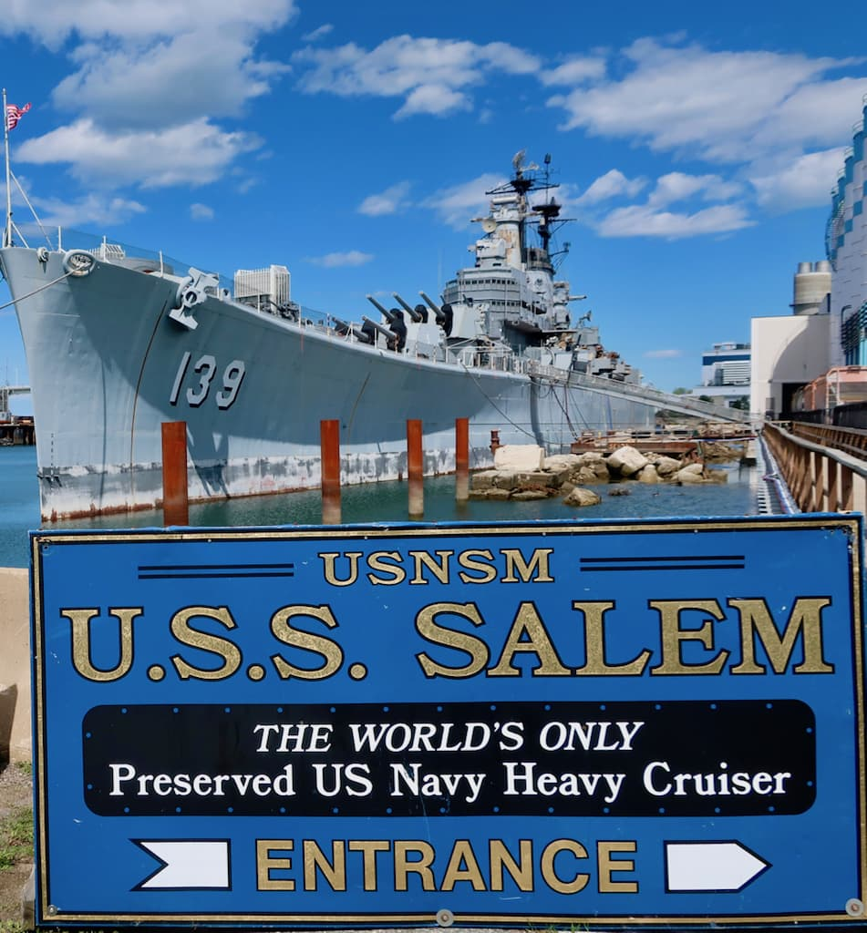 USS Salem Sign and Ship Quincy Shipyard MA