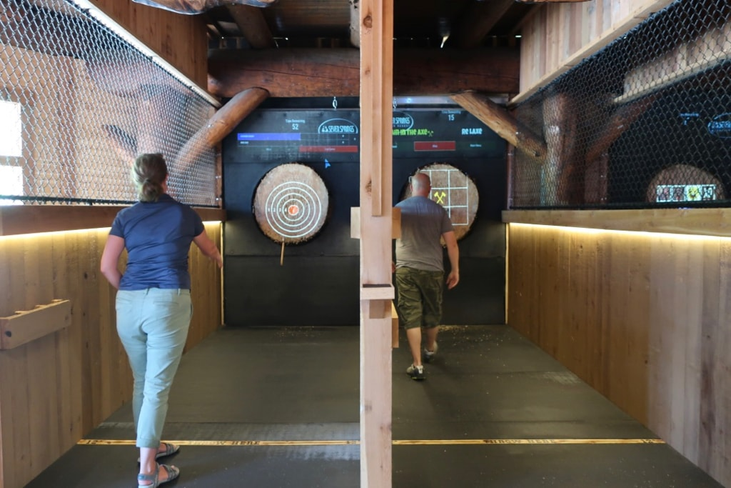 Throwing axes at Foggy Goggles Axe House Seven Springs Mountain Resort Laurel Highlands PA