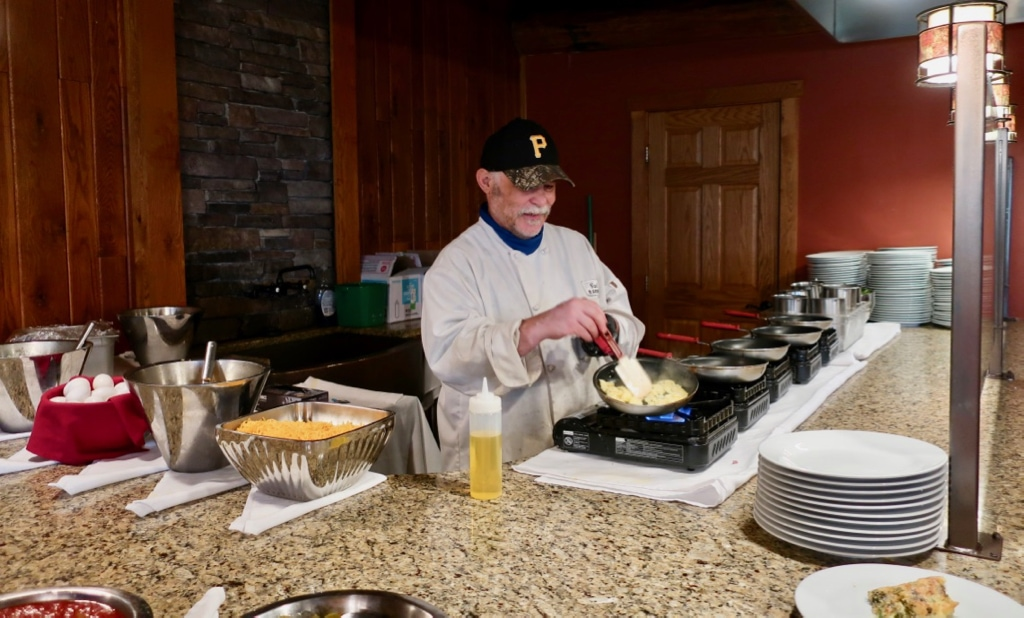 Carl makes omelets every morning at Seven Springs Mountain Resort Hotel
