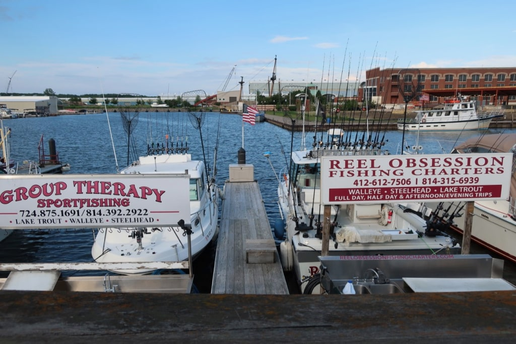 Fishing boats line up at dock on the Erie PA waterfront