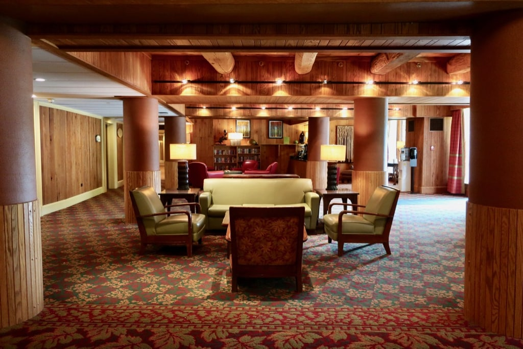 Woodsy hues in hotel lobby at 7 Springs Mountain Resort