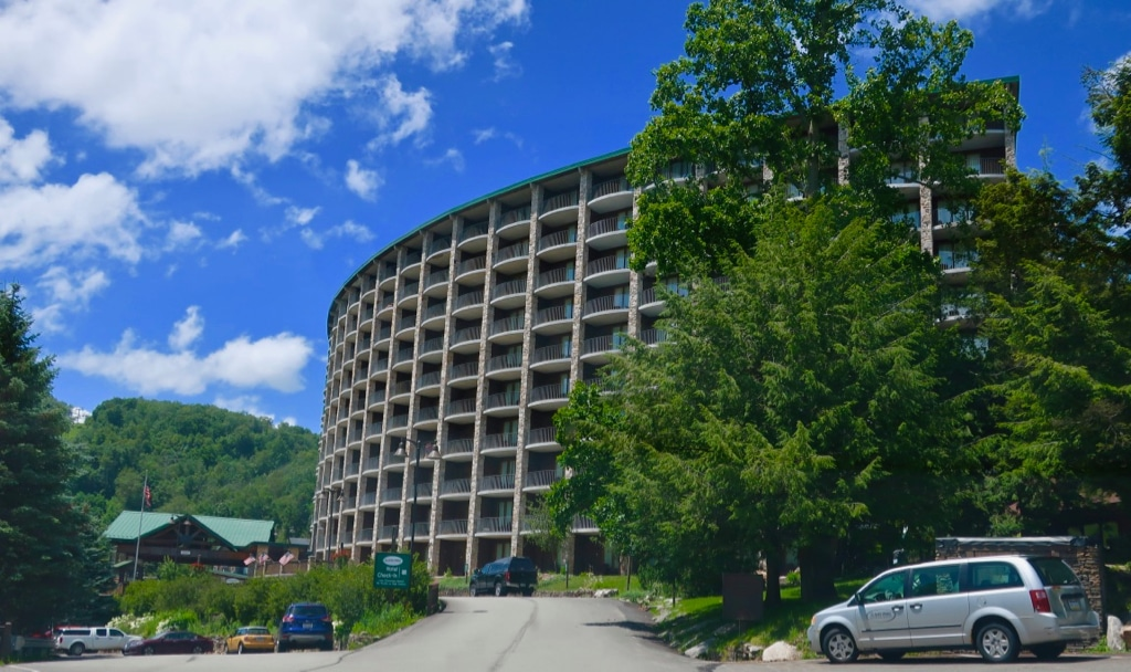 Curved 70's style hotel at Seven Springs Mountain Resort