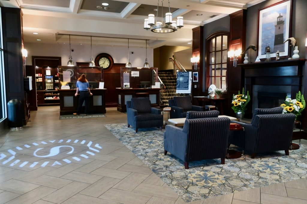 Reception and lobby at Bayfront Sheraton Hotel Erie PA