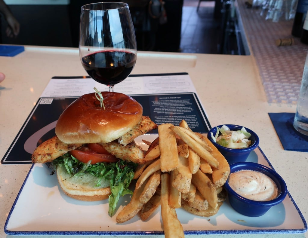 Perch Sandwich on Bun at Oliver's Rooftop Erie PA