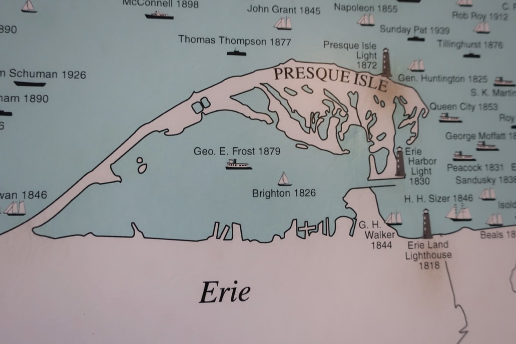 Map of Lake Erie shipwrecks at Presque Isle Lighthouse
