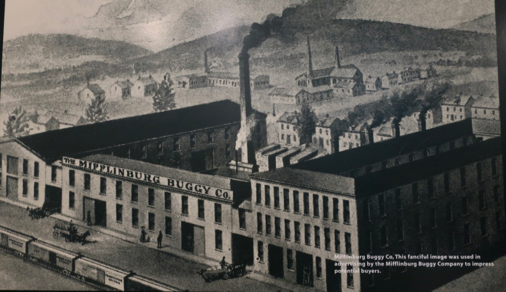 Rending of Mifflinburg Buggy Co from 1800's now Rusty Rail Brewing Co PA