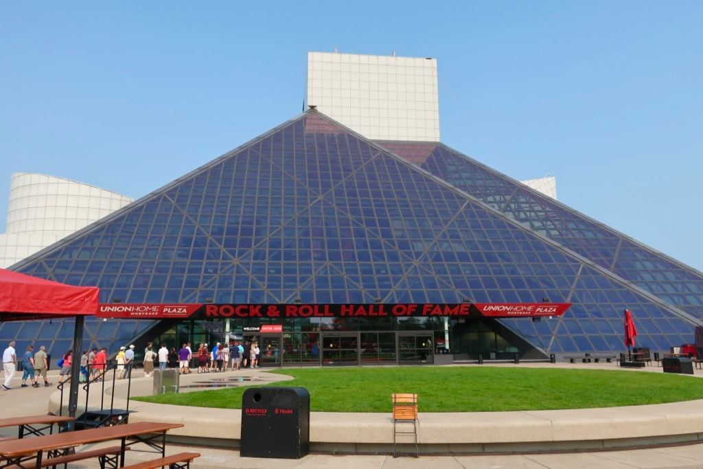 Exterior of Rock and Roll Hall of Fame glass pyramid