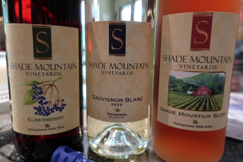 Bottles of Shade Mountain Winery wine PA