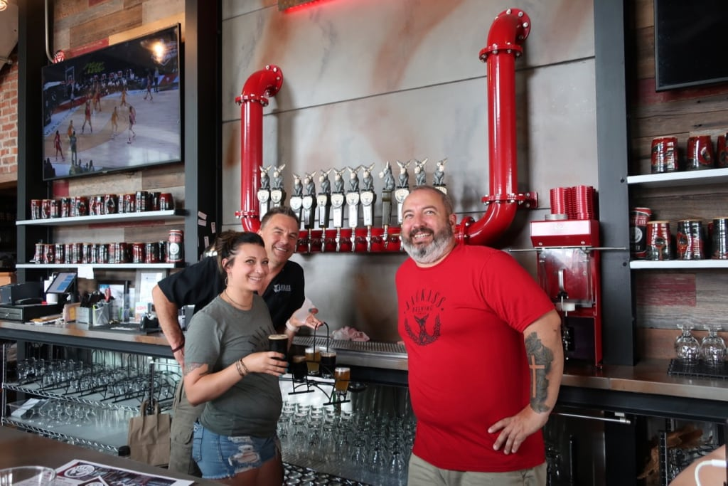 Jackass Brewery owners at taps Lewisburg PA