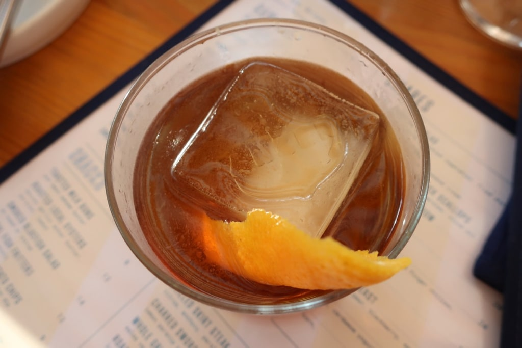 Anker-stamped Ice Cube in craft cocktail Greenport NY