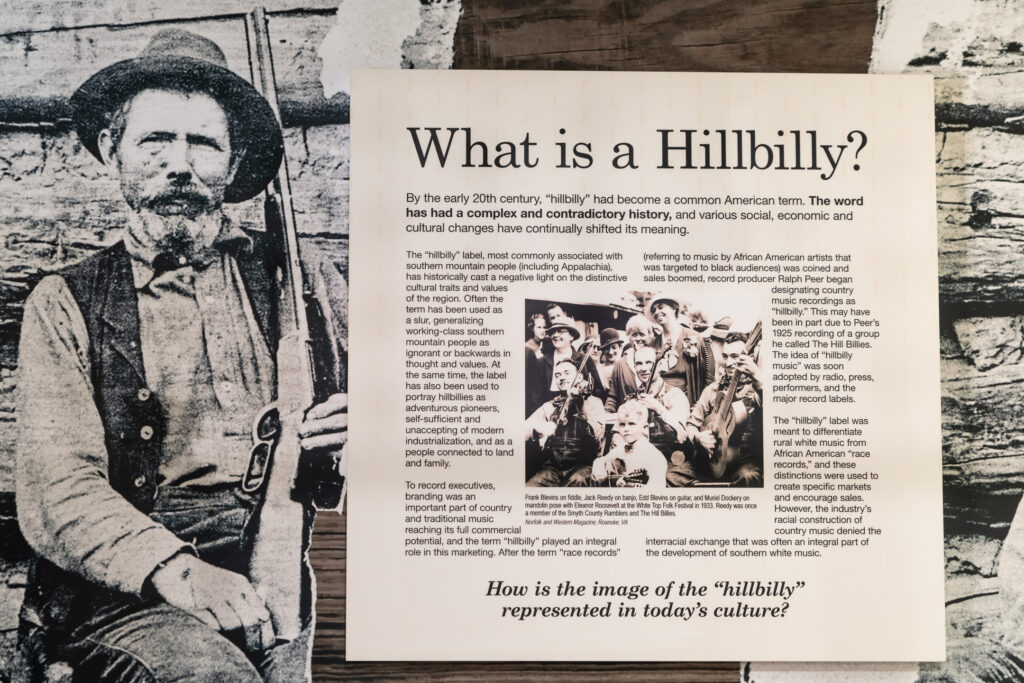 What is a Hillbilly? poster at Birthplace of Country Music in Bristol VA