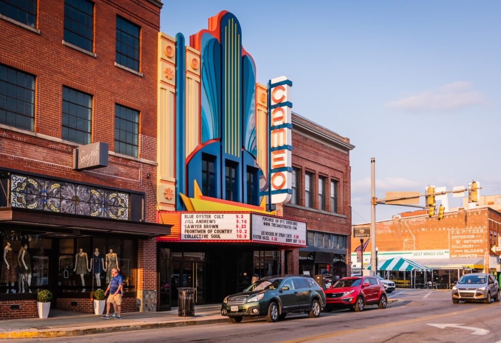 Exterior of newly renovated Cameo Theater in Bristol VA.
